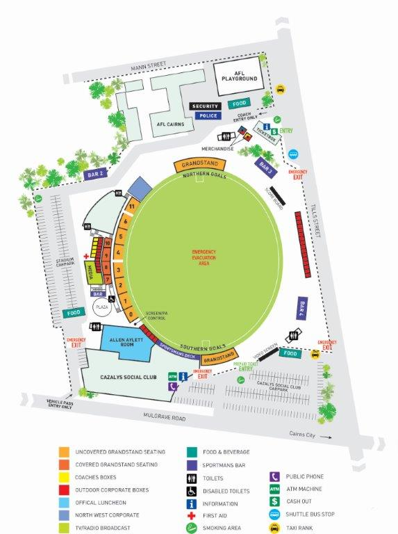 Cazalys Stadium Map 2016 w Emerg Exits